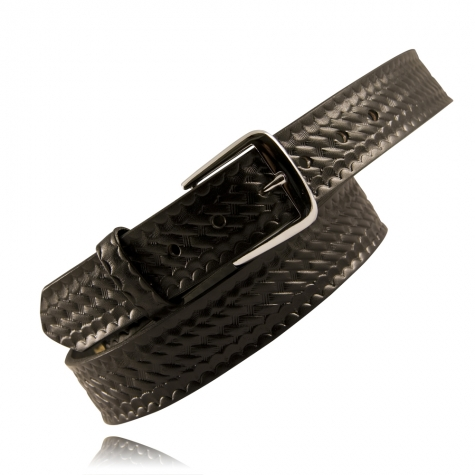 "Boston Leather 1.5"" Trouser Belt Basketyweave Leather - Black"